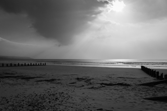 A storm rolls in off of the north Wales coast